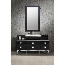 "Moselle 59"" Modern Glass Bathroom Vanity Set with Single Sink"