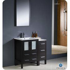 "Torino 36"" Modern Bathroom Vanity Set with Side Cabinet and Undermount Sink"
