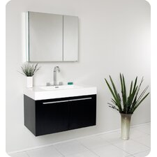 "Senza 35.5"" Vista Modern Bathroom Vanity Set with Medicine Cabinet"
