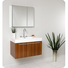 "<strong>Fresca</strong> Senza 35.5"" Vista Modern Bathroom Vanity Set with Medicine Cabinet"