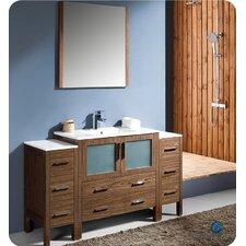 "Torino 60"" Single Modern Bathroom Vanity Set with Mirror"