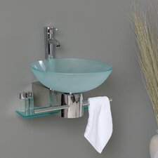 "<strong>Fresca</strong> Vetro 17.75"" Cristallino Modern Glass Bathroom Vanity Set with Frosted Vessel Sink"