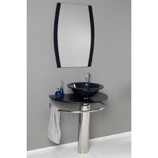 "Vetro 29.5"" Scoperto Modern Glass Bathroom Vanity Set with Mirror"