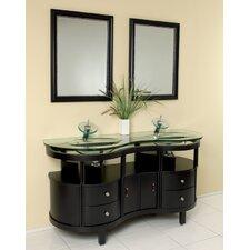 """Classico 63"""" Double Unico Modern Bathroom Vanity Set with Mirror"""