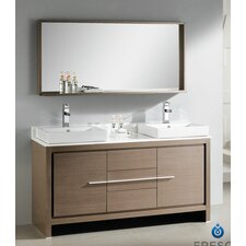 "<strong>Fresca</strong> Allier 60"" Modern Double Sink Bathroom Vanity Set with Mirror"