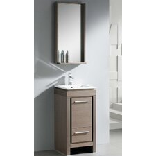 "Allier 18"" Single Small Modern Bathroom Vanity Set with Mirror"