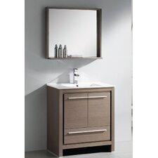 "Allier 30"" Single Modern Bathroom Vanity Set with Mirror"