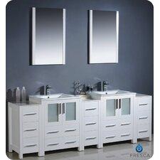"Bari Torino 84"" Double Modern Bathroom Vanity Set with Mirror"
