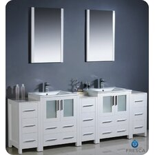 "Bari Torino 84"" Modern Double Sink Bathroom Vanity Set"