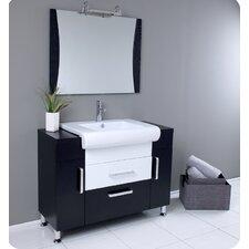 "Nero 44"" Single Vita Modern Bathroom Vanity Set with Mirror"