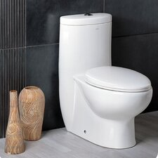 Delphinus Dual Flush 0.8 GPF / 1.6 GPF Elongated 1 Piece Toilet with Soft Close Seat