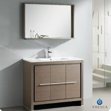 "Allier 40"" Single Modern Bathroom Vanity Set with Mirror"