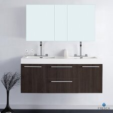 "Senza 54"" Opulento Modern Bathroom Vanity Set with Double Sink"
