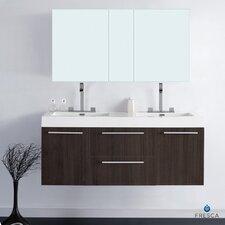 "Senza 54"" Opulento Modern Bathroom Vanity Set with Double Sink"