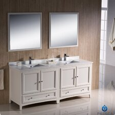 "Oxford 72"" Traditional Bathroom Vanity Set with Double Sink"