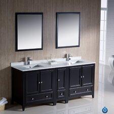 "Oxford 72"" Traditional Double Sink Bathroom Vanity Set"