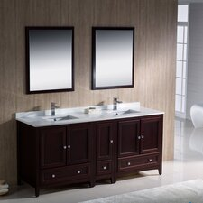 "Oxford 72"" Double Traditional Bathroom Vanity Set with Mirror"