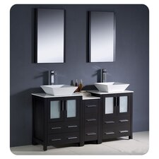 "Torino 60"" Modern Double Sink Bathroom Vanity Set with Side Cabinet and Vessel Sinks"
