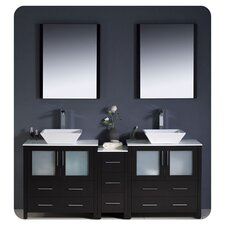 "Torino 72"" Modern Double Sink Bathroom Vanity Set with Side Cabinet and Vessel Sinks"