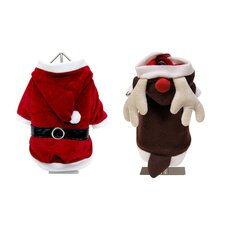 <strong>Fou Fou Dog</strong> Holiday Reversible Santa and Reindeer Suit