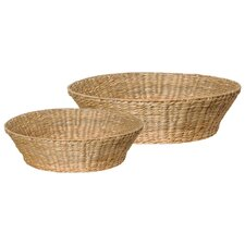 2 Piece Round Water Hyacinth Bowl Set