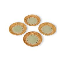 <strong>Emissary Home and Garden</strong> Ceramic and Rattan Coaster (Set of 4)