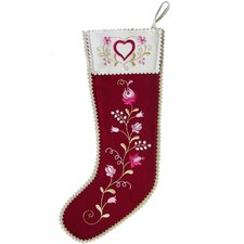 Hearts and Flowers Stocking in Cranberry