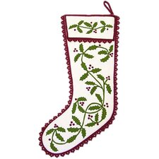 Holly Garland Stocking in Cranberry and White