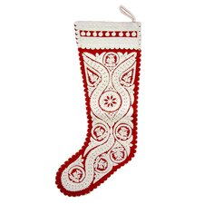 Szur Medallion Stocking in White and Red