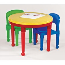 Kids Round Construction Table and Chair Set with Cover