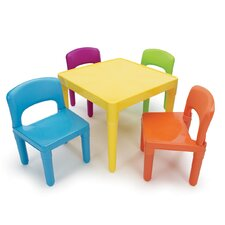 <strong>Tot Tutors</strong> Kids' 5 Piece Plastic Table and Chair Set