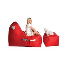R-Lax Twill Beanbag with Footstool in Lipstick Red