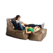 R-Lax Two Tone Beanbag with Footstool in Brown/Beige
