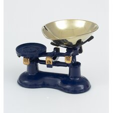 Scale and Pear Shaped Brass Pan in Blue