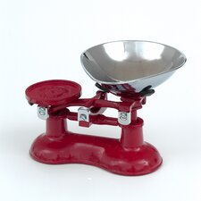 Scale with Chromed Brass Pan in Chilli Red
