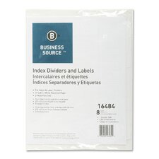 Index Dividers, 3HP, 8-Tab, White