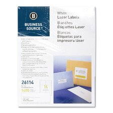 "Mailing Labels, Laser, 1-1/3x4"", 1400 per Pack, White"