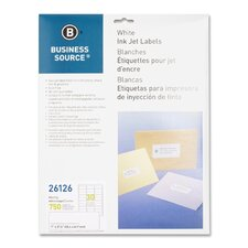 "Mailing Labels, Inkjet, 1""x2-5/8"", 750 per Pack, White"
