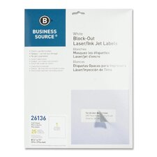 "Block-Out Labels, Full Sheet, 8-1/2""x11"", 25 per Pack, White"