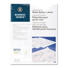 "<strong>Business Source</strong> Name Badge, Laser, 2-1/3""x3-3/8"", 400 per Pack, White"