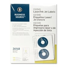 <strong>Business Source</strong> CD/DVD Labels, Laser/Inkjet, 100 per Pack, White