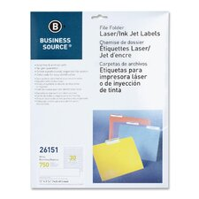 File Folder Labels, Laser/Inkjet, 750 per Pack, White