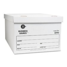 "Storage Box, Lift Off Lid, Legal, 15""x24""x10"", White, 12-Pack"