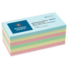 "Adhesive Note, Repositionable, 3"" x 3"", Assorted, 12 per Pack"
