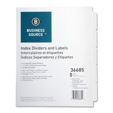Index Dividers, 3HP, Reinforced, 5-Tab, 25 ST per Pack, White