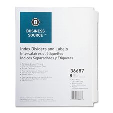Index Dividers, 3HP, Reinforced, 8-Tab, 25 ST per Pack, White