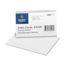 "Index Cards, Plain, 90lb., 4""x6"", 100 per Pack, White"