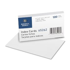"Index Cards, Plain, 90lb., 5""x8"", 100 per Pack, White"