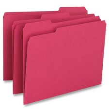 File Folder,1-Ply, 1/3 Cut Assorted Tabs, Letter, 100 per Box, Red