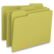 <strong>Business Source</strong> File Folder, 1-Ply, 1/3 Cut Assorted Tabs, Letter, 100 per Box, Yellow